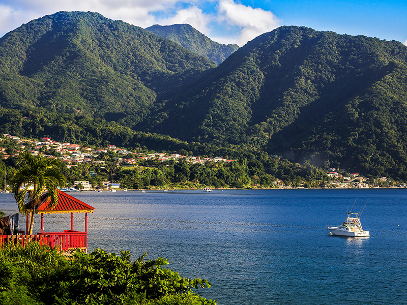 Heavily forested mountains viewed from across a bay in Dominica
