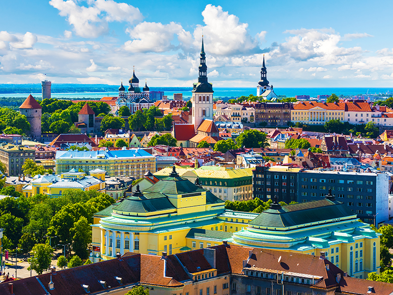 Scenic summer aerial view of the Old Town architecture in Tallinn, Estonia
