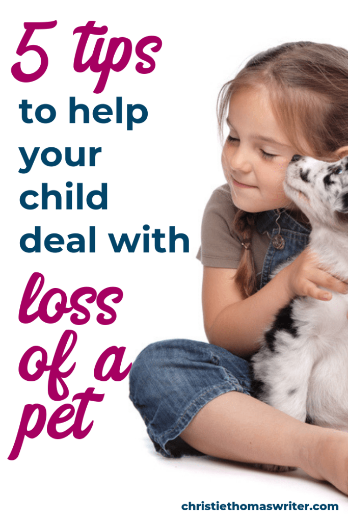 When your pet dies, learn how to help a child deal with pet death   How to help a child grieve a pet.   Pet loss memorial ideas   Christian picture book about grief and loss   Quinn Says Goodbye by Christie Thomas #kidlit #Christianparenting #grief