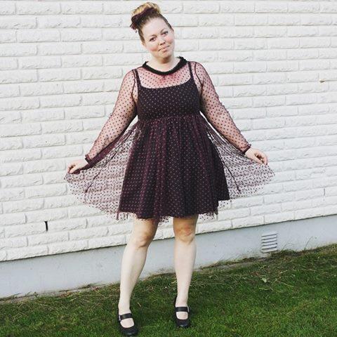 purple dot dress