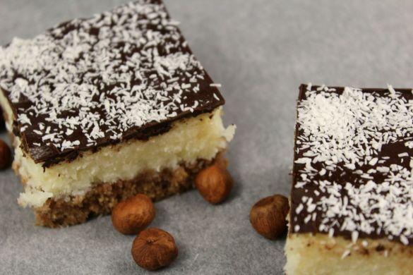 Bounty Schnitten mit Schokoladen Glasur