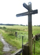 A sign pointing the direction of the West Highland Way with a path leading away