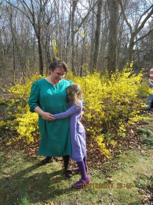 K and I on Easter, looking for the last yellow plastic egg