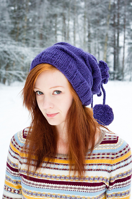Piccadilly - Wrapped pompom beanie, hood and cowl