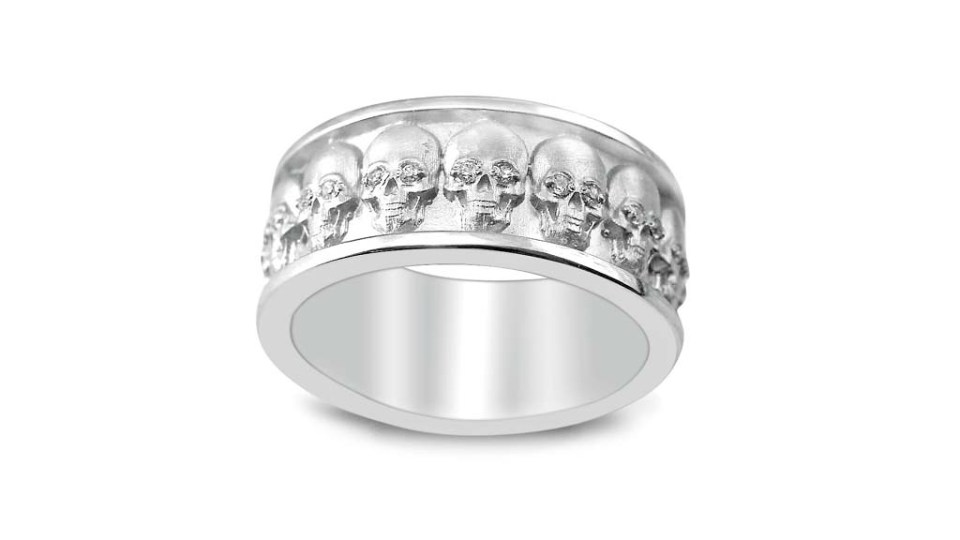 Skull Ring with Diamonds