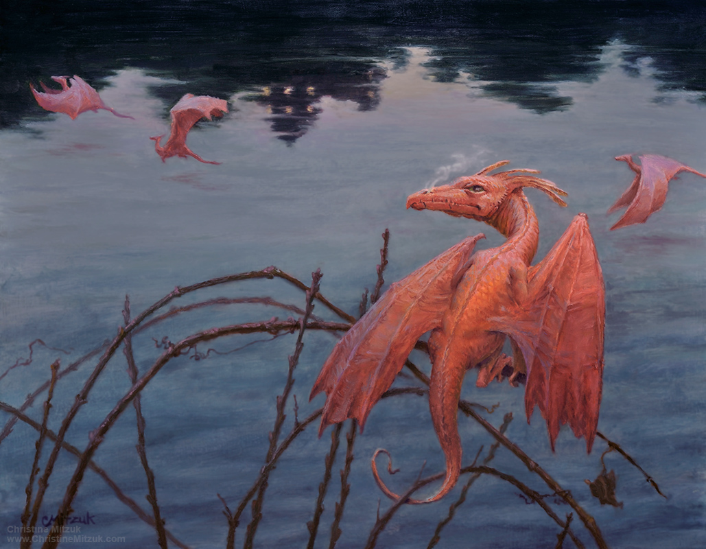 flight at dusk a k a twilight dragons christine mitzuk art