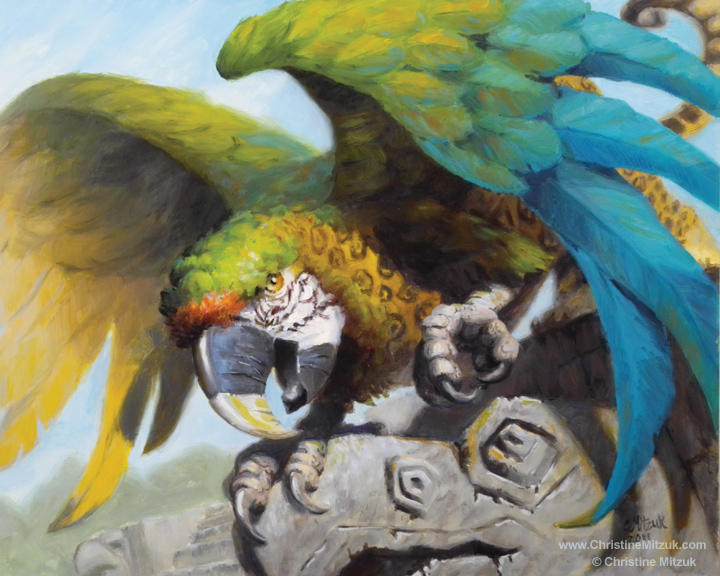 oil painting of a gryphon that is part jaguar and macaw or parrot by Christine Mitzuk