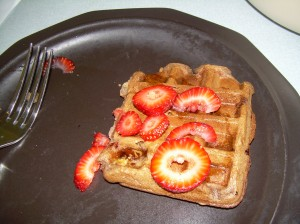 Vegan waffles with agave instead of maple syrup