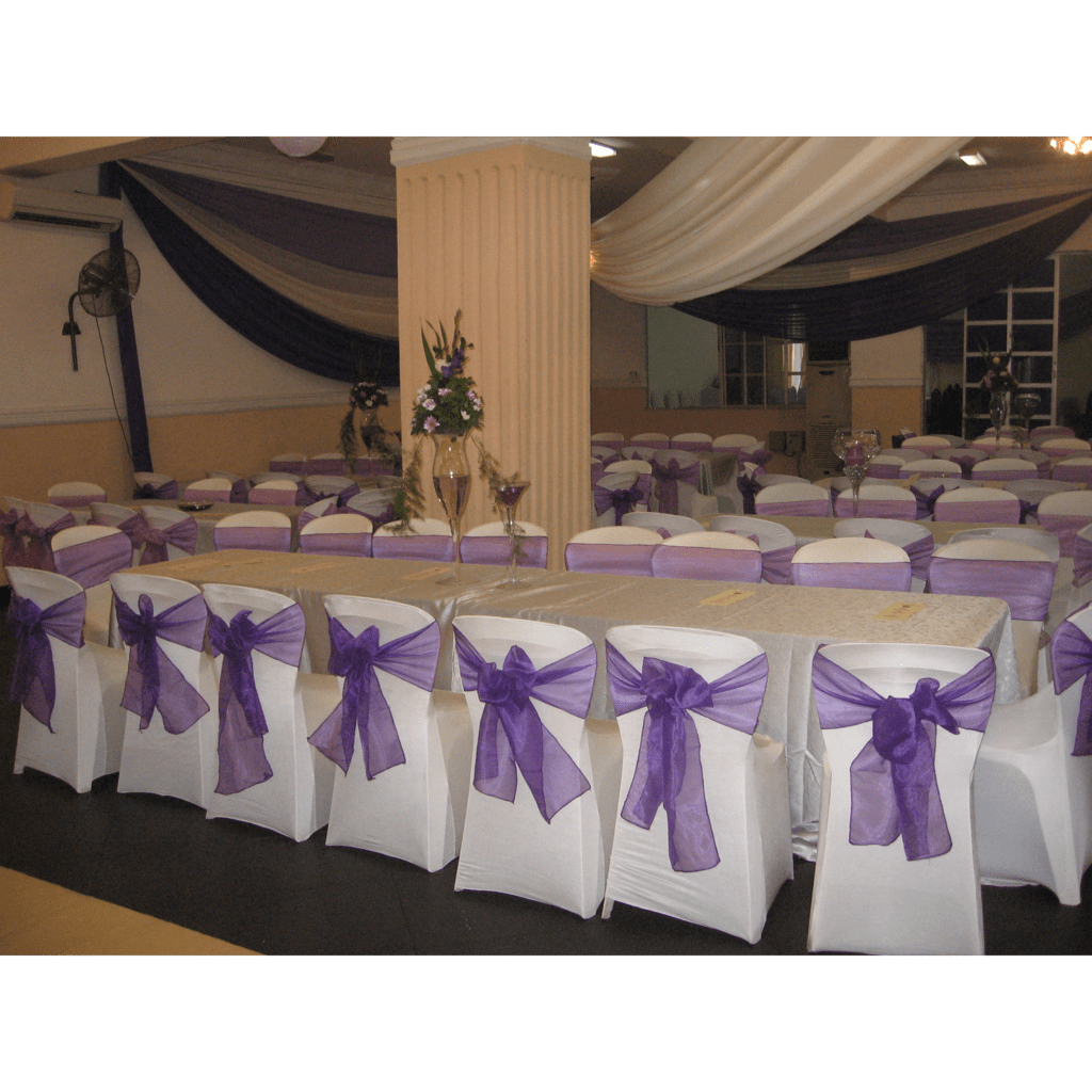 purple chair covers for wedding revolving specification and centerpiece christines creatives