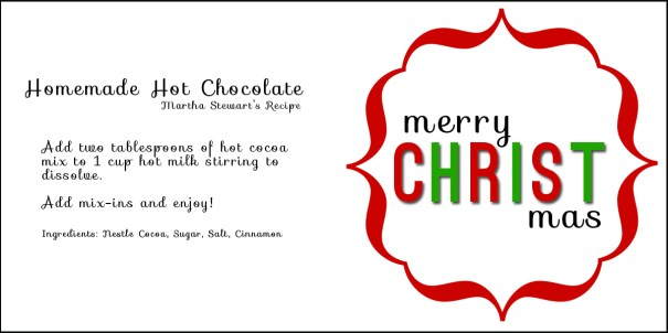 Christmas Cocoa Gift Tag & Recipe Card