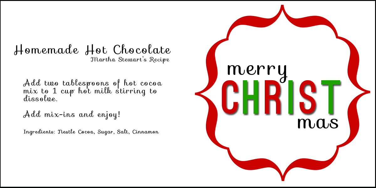 Christmas cocoa 20 printables christine trevino christmas cocoa gift tag recipe card negle Images
