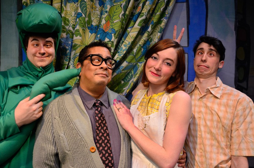 "Lyle (Anthony Kayer, left) poses for a portrait with his human family: (L to R) Mr. Primm (Linsey Falls), Mrs. Primm (Erin O'Shea), and Joshua (Brian Tochterman Jr.); in Lifeline Theatre's world premiere musical, ""Lyle Finds His Mother,"" adapted by Jessica Wright Buha, music and lyrics by Michael James Brooks, and directed by Dorothy Milne; based on the beloved children's book by Bernard Waber; runs March 22, 2014, through April 27, 2014. Lifeline Theatre is located at 6912 N. Glenwood Ave. Chicago, IL 60626. For tickets call the box office at 773-761-4477 or visit www.lifelinetheatre.com. Photo by Suzanne Plunkett."