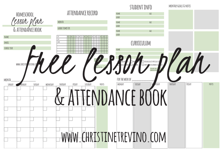 FREE Homeschool Lesson Plan and Attendance Book