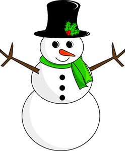 Free Snowman Clip Art Image: Snowman with Scarf and Top Hat