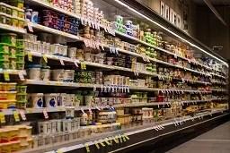Stocked foodstore shelves