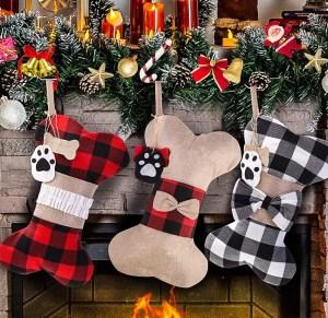 Bone-shaped Christmas stocking