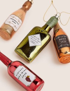 xmas tree decorations drink bottles