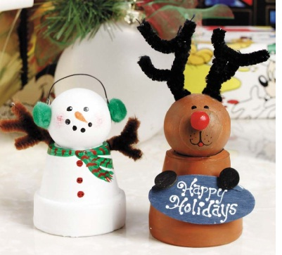 Clay pot reindeer Christmas ornament