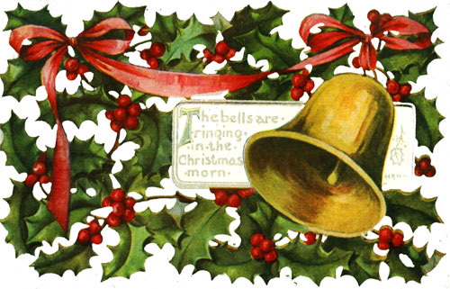 Free Clipart Vintage Christmas Bells Holly Mistletoe