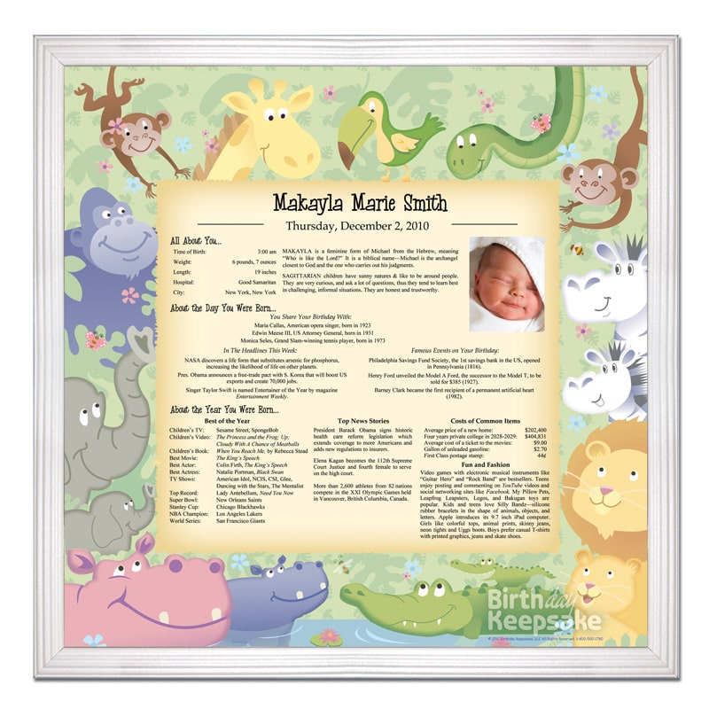 Personalized Day You Were Born Print Christmas Gifts