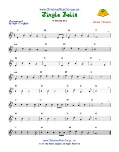 Jingle bells sheet music also free rh christmasmusicsongs