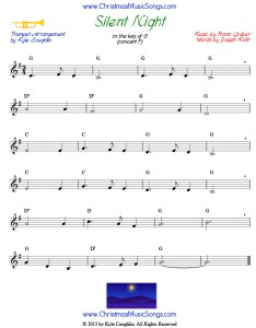 Silent night sheet music for trumpet also free rh christmasmusicsongs