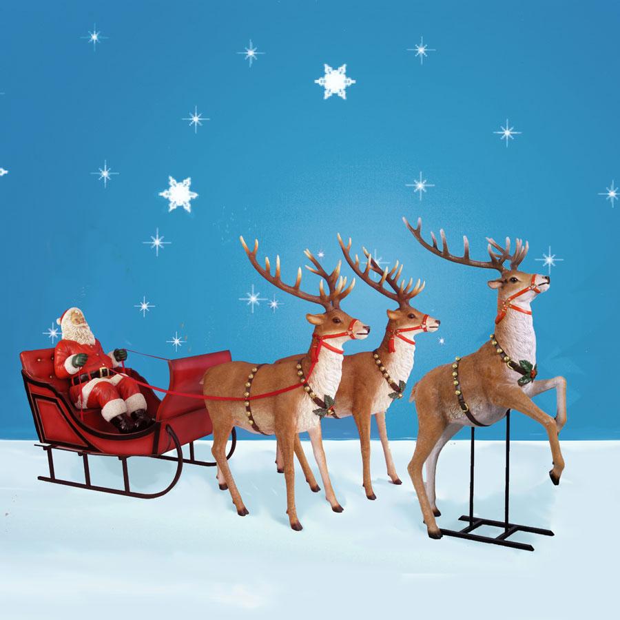 170 Wide Giant Santa Sleigh Amp Three Reindeer Set