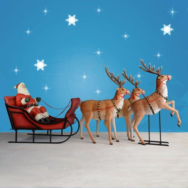 Christmas Outdoor Santa Sleigh and Reindeer