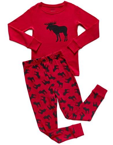 "ab7dc34e9f Leveret Boys Girls ""Moose"" ""Reindeer"" 2 Piece Pajama Christmas 100% Cotton ( Size 12M-14 Years)"