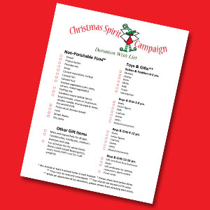Christmas Spirit Campaign Wish List