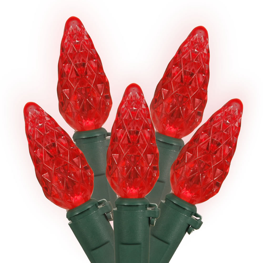 medium resolution of 25 commercial coaxial led c6 strawberry faceted red christmas lights green wire