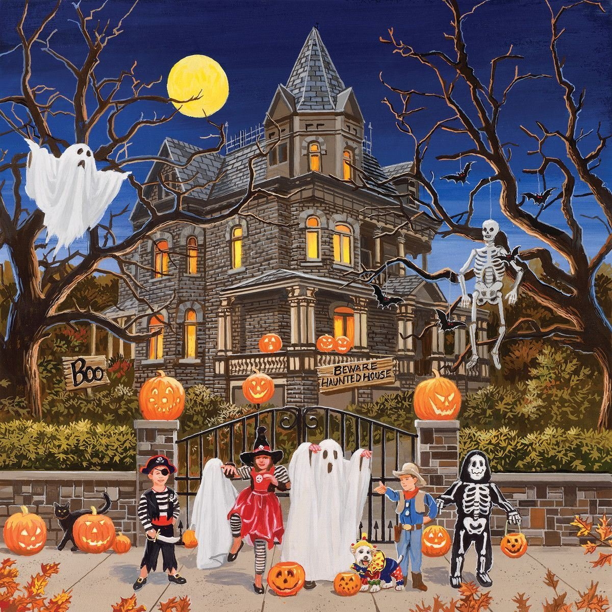 Fall Feather Wood Wallpaper Beware Haunted House Puzzle By William Vanderdasson For