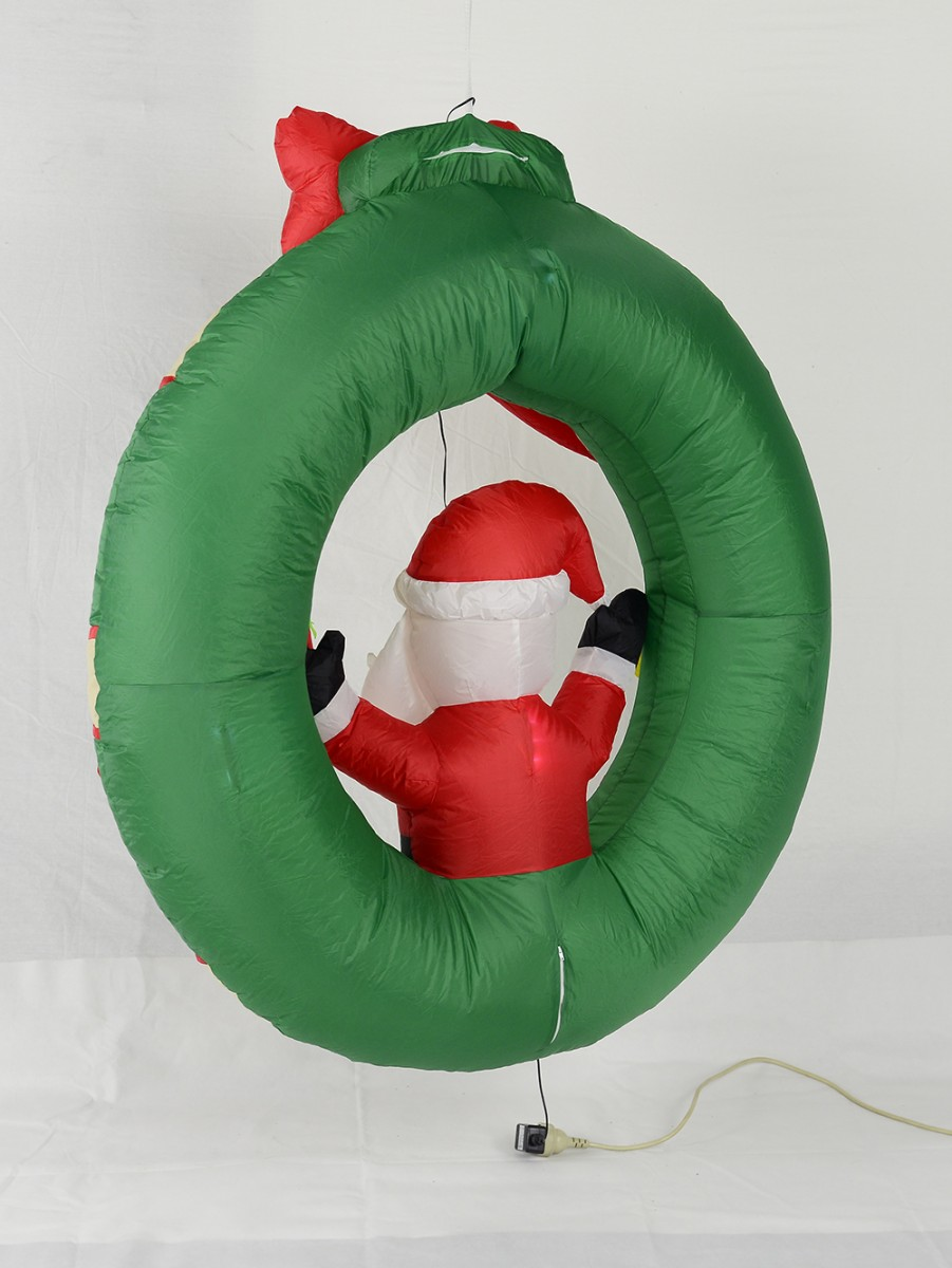 Hanging Decorated Wreath With Santa Illuminated Inflatable