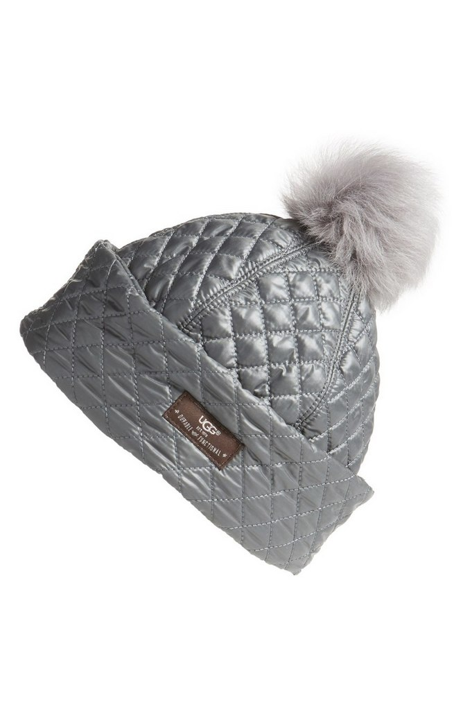 Australia Water Resistant Quilted Hat with Genuine Shearling Pompom by UGG | $75