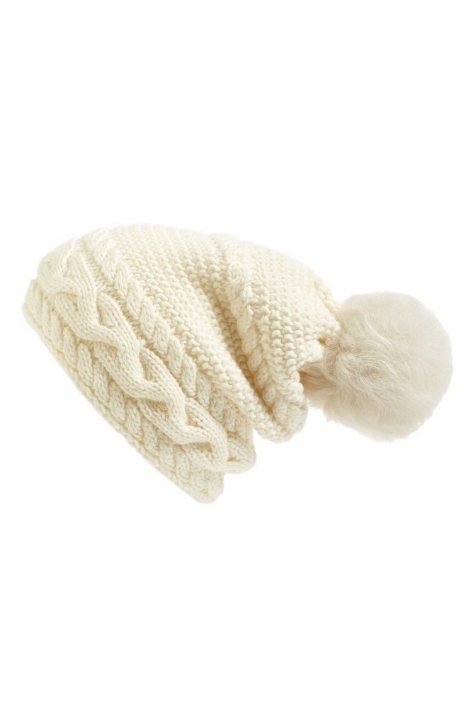 Cable Knit Genuine Shearling Pom Beanie by UGG | $65