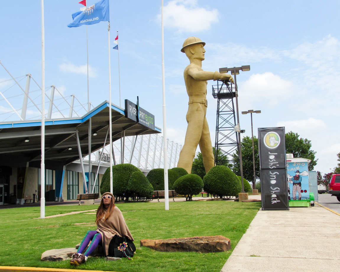 Golden Driller Statue in Tulsa - Route 66 Oklahoma: All Towns and Attractions to See - Christobel Travel