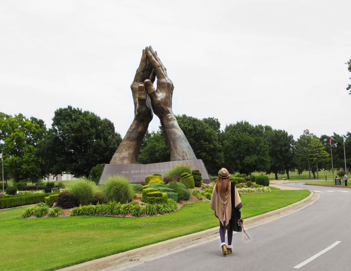 Praying Hands Statue at Oral Roberts University -Tulsa Travel Guide - 45 Things to do - Christobel Travel