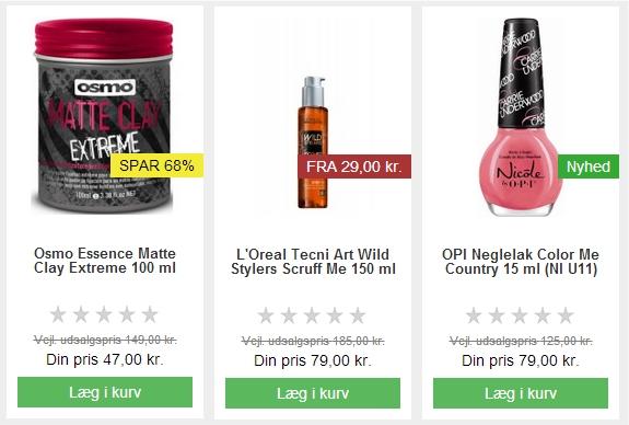 Nicehair.dk – anvender produktlabels til, at fremhæve nyheder, rabatsatsen der kan spares og fra priser