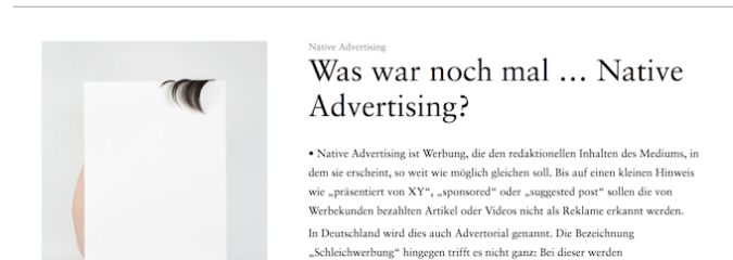 Was war noch mal … Native Advertising?