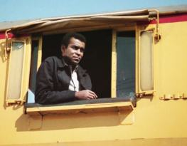 """Barney (Greg Morris) casually steals a locomotive in """"The Train"""""""