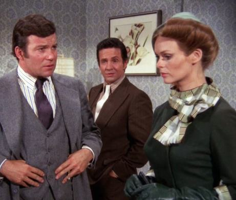 """Thomas Kroll (William Shatner) falls into an outrageous time warp in """"Encore"""" (with Michael Baseleon and Lynda Day George)"""