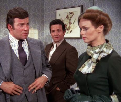 "Thomas Kroll (William Shatner) falls into an outrageous time warp in ""Encore"" (with Michael Baseleon and Lynda Day George)"