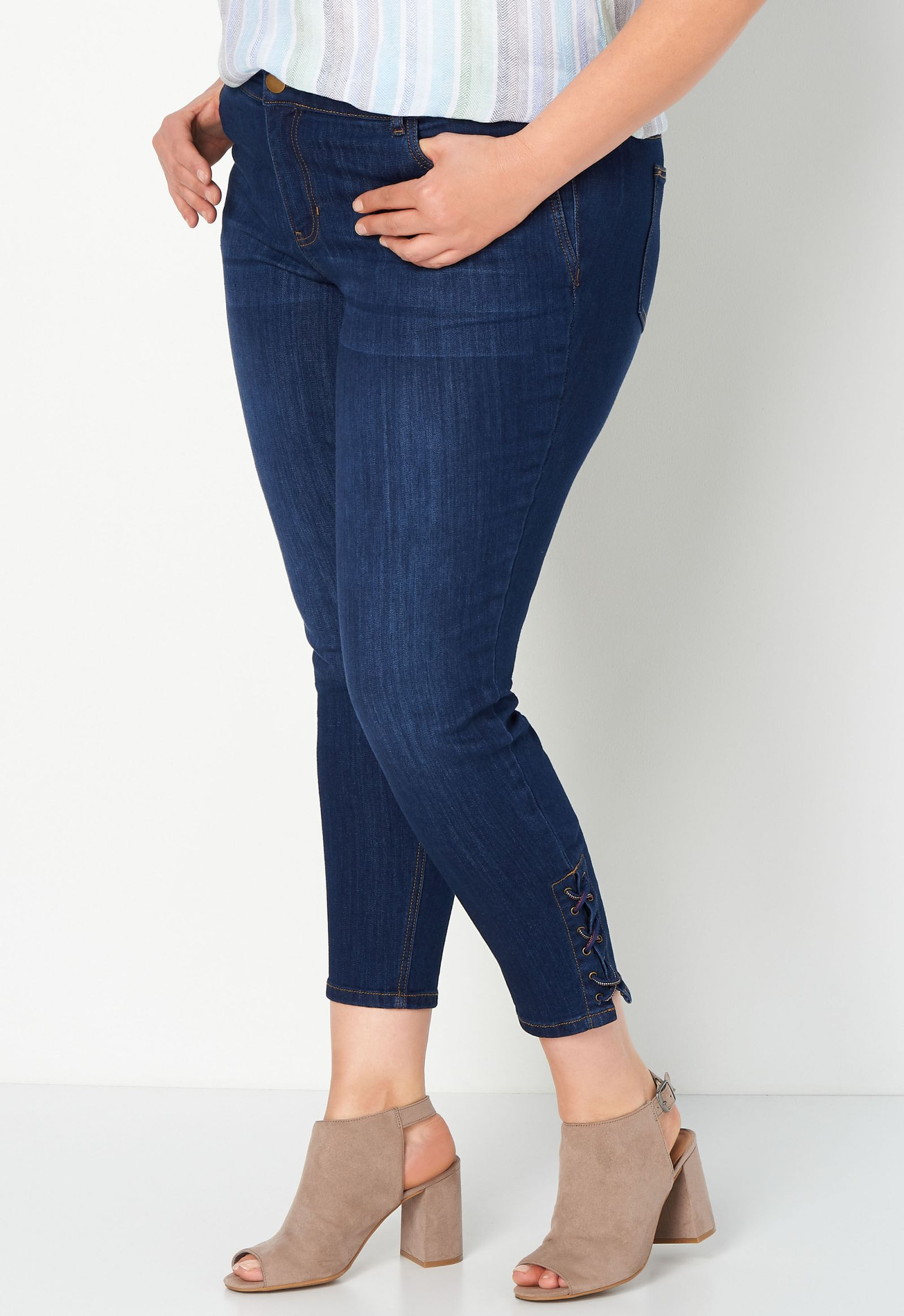 Lace Up Plus Size Ankle Jean 2