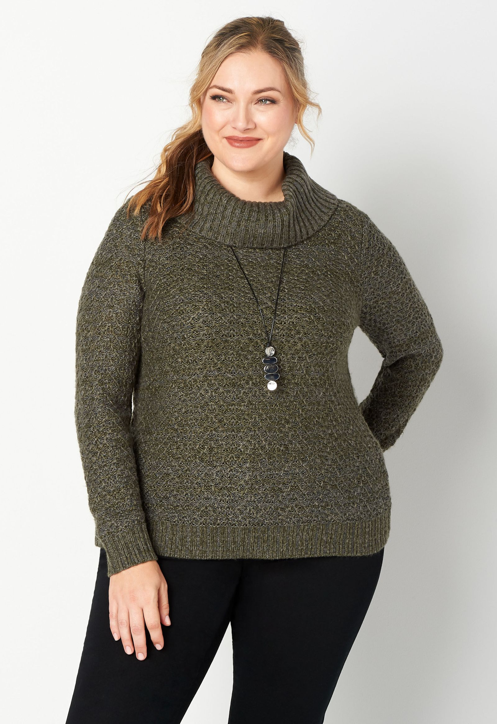 Plus Size Textured Stitch Cowl Neck Pullover Sweater 6