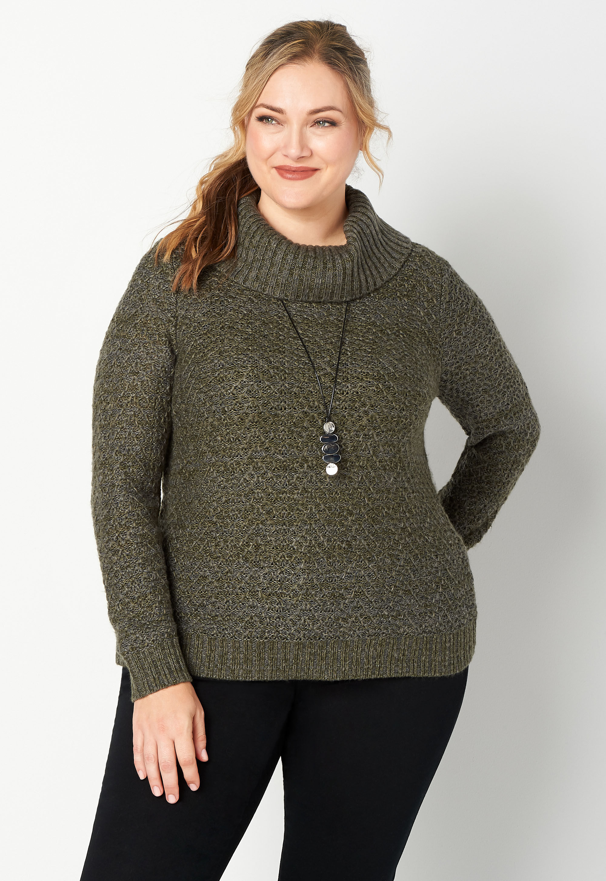 Plus Size Textured Stitch Cowl Neck Pullover Sweater 4