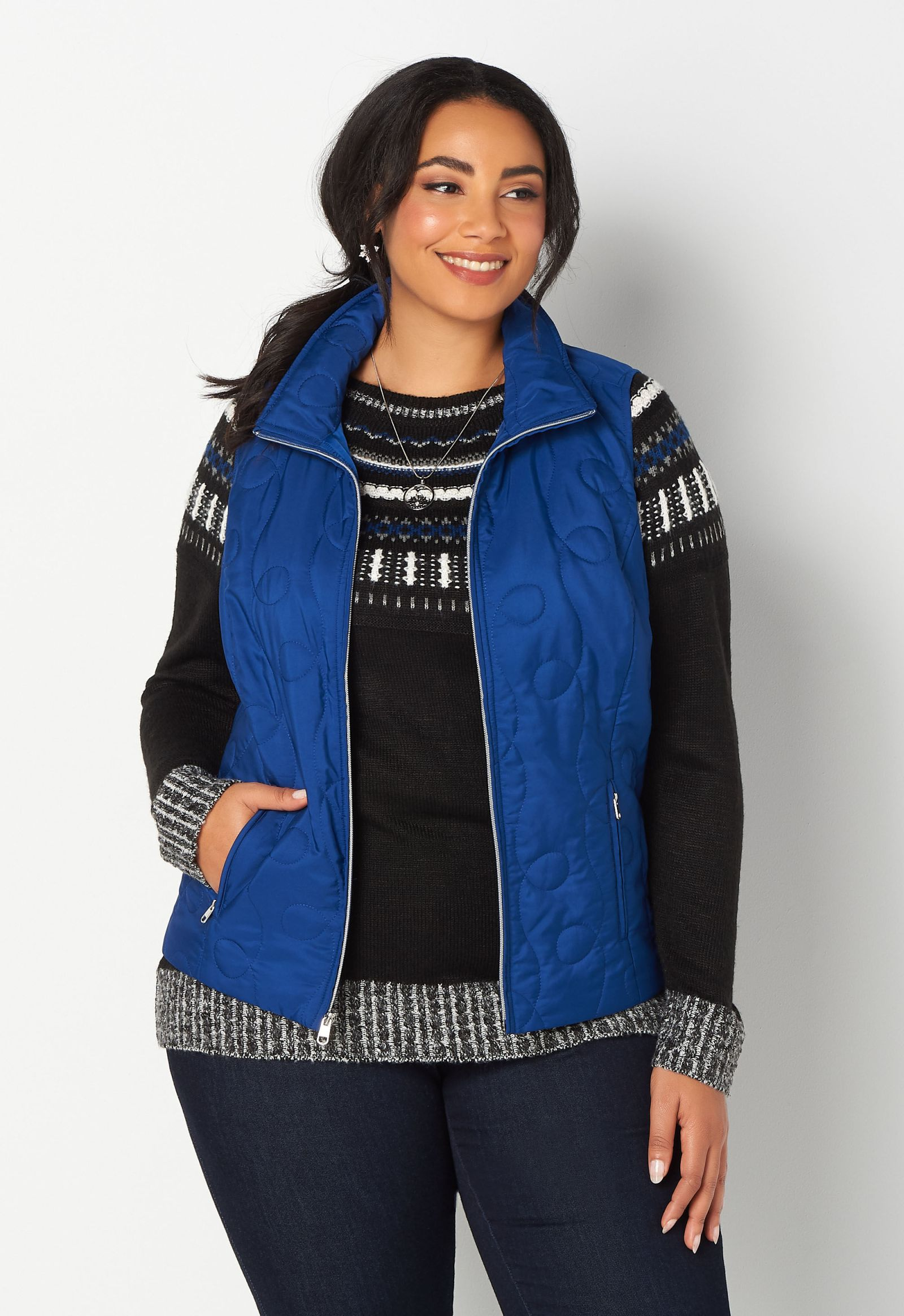 Solid Swirl Plus Size Quilted Vest 2