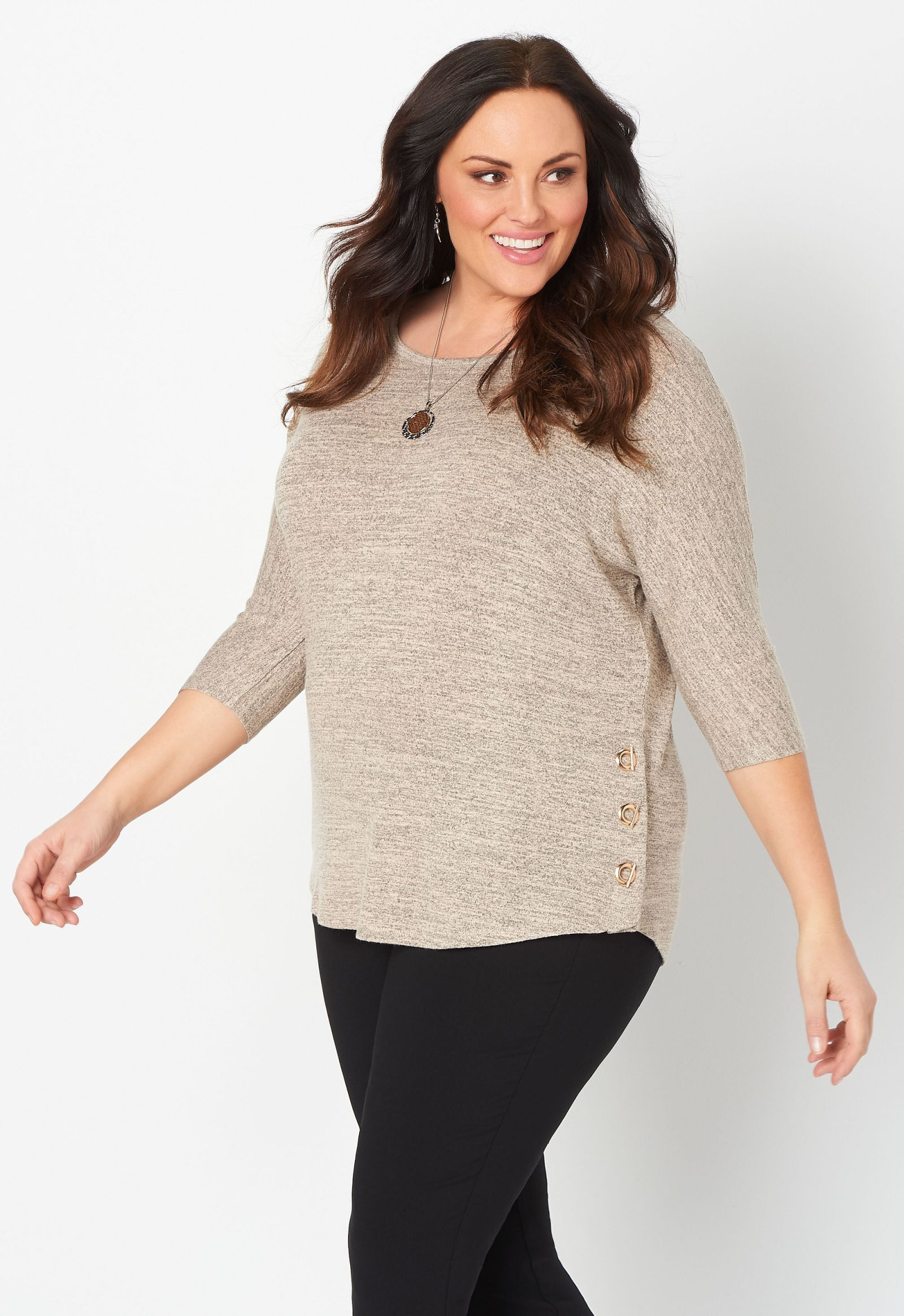 Solid Hatchi Toggle Side Plus Size Top 2