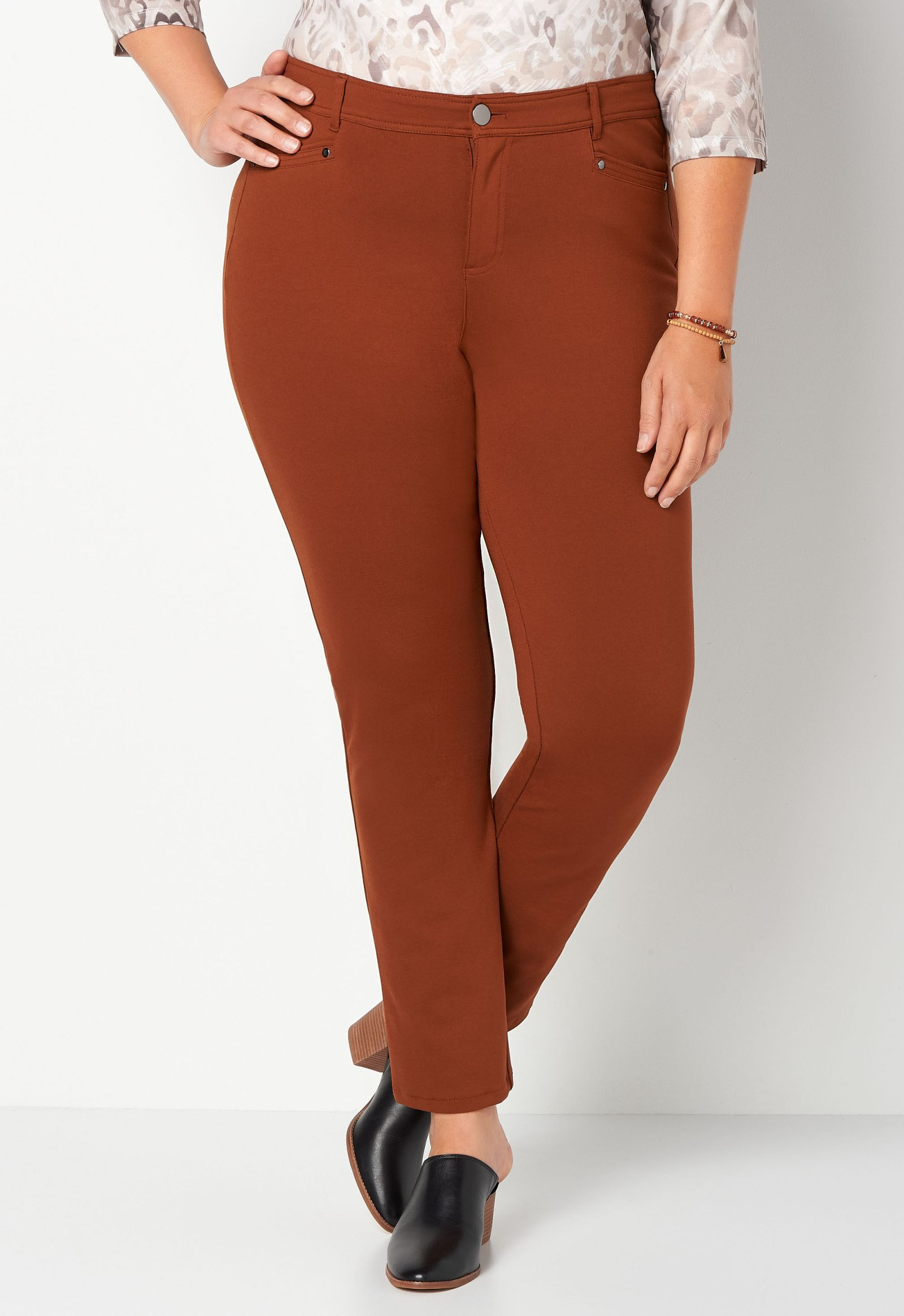 Signature Slimming Ponte Tapered Plus Size Pant Average Shaped Fit 2