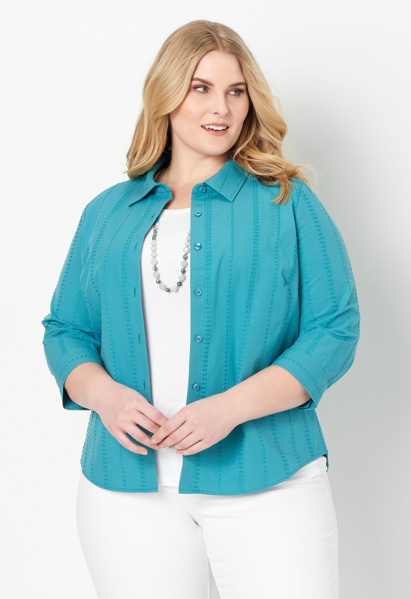 Solid Textured 3/4 Sleeve Plus Size Shirt 2