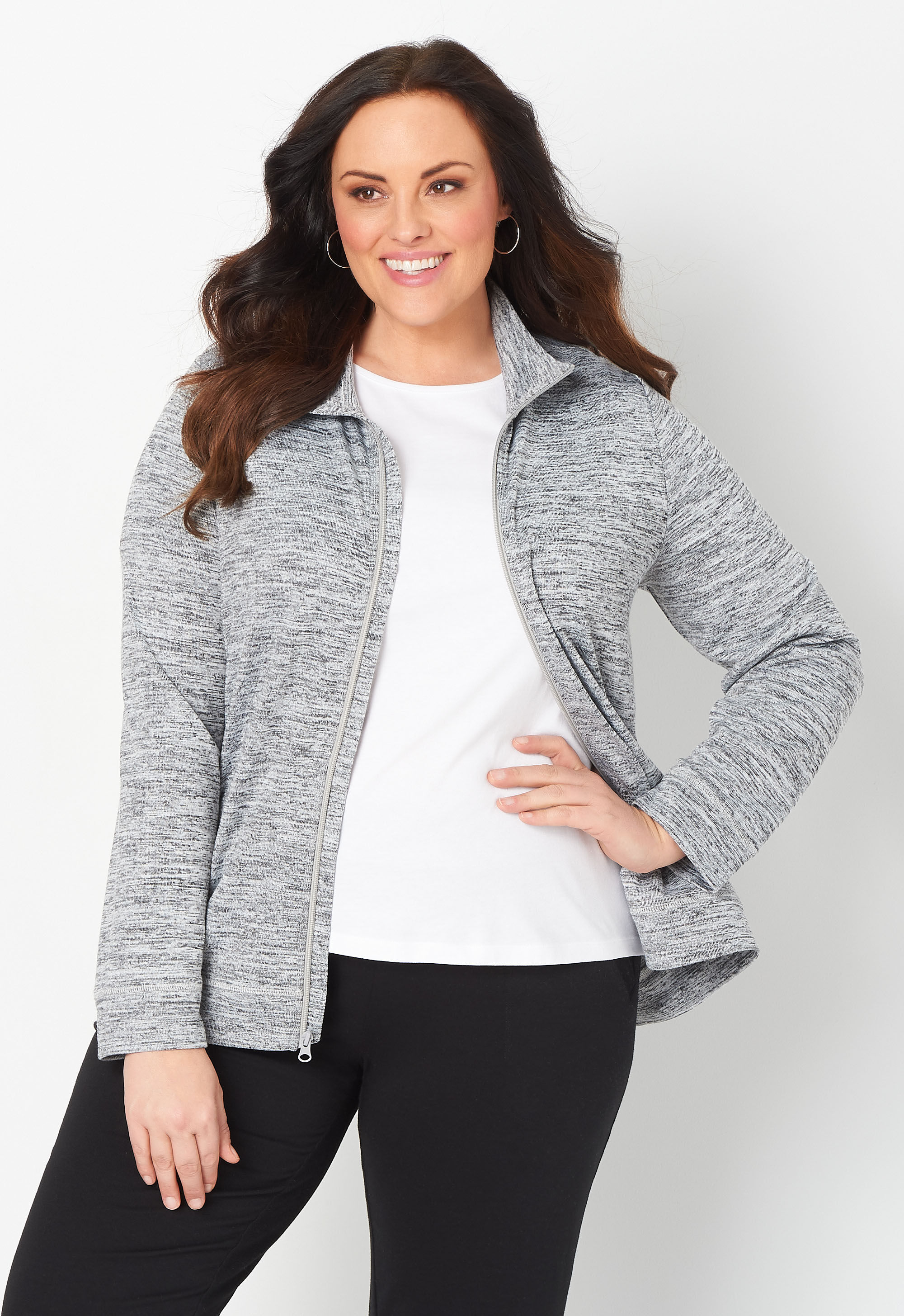 Relaxed Restyled Plus Size Spacedye Zip Up Jacket 4